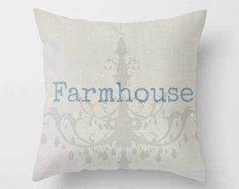 Farmhouse Pillow, Throw Pillow, Square Pillow, French Cottage Bed Decor, Cottage Home, Linen Pillow, Living Room Decor, Chandelier Pillow