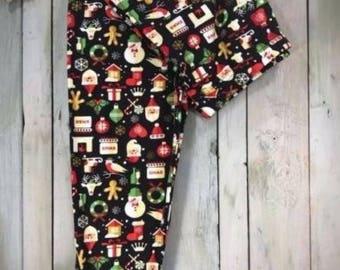 ONE SIZE Santa Gingerbread Leggings Fits Sizes 2-12