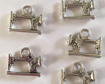 Set of 5 Tibetan silver sewing machine charms