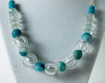 Clear bubble necklace with stone and glass beads
