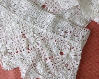 "Very Wide Vintage Cotton Lace Petticoat Trim Lace Remnant White - 58"" (147cm) in Length. Width~ 6"" (15cm)"