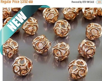 10% SALE 4 small shiny rose gold 8mm wire wrapped beads, faux pearl filigree ball bead, round beads 2021-BRG-8