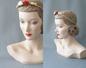 Floral ribbon and lace headband   1990 by cubesandsquirrels