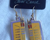 "Laurel Burch ""EGYPTICAT Earrings on Original Card"