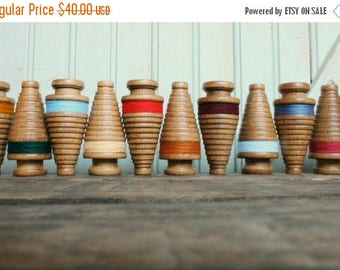 SALE Today Miniature Christmas Tree Bobbins - Primitive 3 Inch Wooden Ornament Spools - Set of Twelve Rustic Holiday Decor