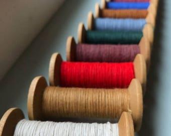 SHIPS TOMORROW 12 Blonde Wooden Colorful Thread Spools - Primitive 3 Inch Wooden Bobbins - Set of 12 Rustic Decor