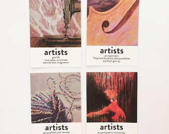 """SET 3 """"What do artists do?"""" pack of 4 postcards"""