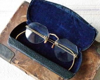 B&L Eyeglasses 1930s 1/10 12k Gold Filled - Vintage SPECTACLES Rimless Eyeglasses w Original Case