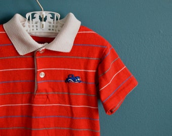 Vintage 1970s 1980s Boy's Red Striped Polo Shirt - Size 3T