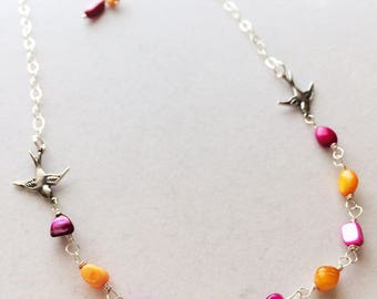 Swallow Necklace - Whimsical Necklace - Summer Jewelry - Sterling Silver - Love Birds - Whimsy - Artsy - Birds - Mother of Pearl - Rainbow