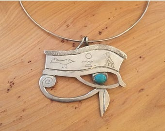 CIJ SALE Christmas JULY Amazing One of a Kind Sterling Silver Persian Eye of Horus Turquoise Vintage Necklace Singed