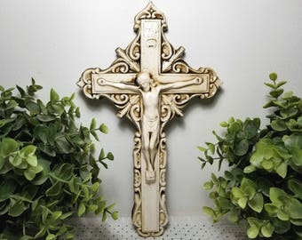 Large Vintage Crucifix, Ceramic Wall Hanging. Neutral Cream Color w/Antiquing, High Gloss. Old World, Contemporary Folk Art. Spiritual Gift