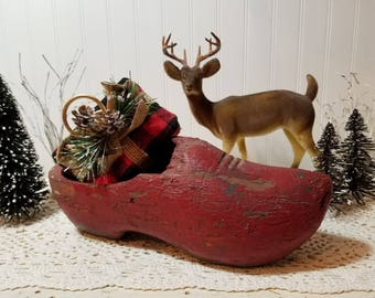vintage Dutch Wood Clog Shoe. Extreme rustic, distressed, worn wood; Chippy red paint. Old world Christmas decor. Sinterklass, Netherlands.