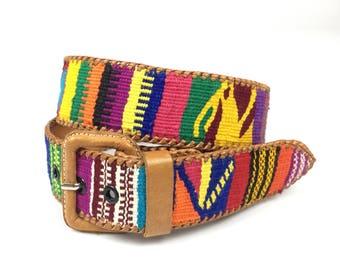 Vintage Guatemala Geometric Woven and Leather Belt Size Medium