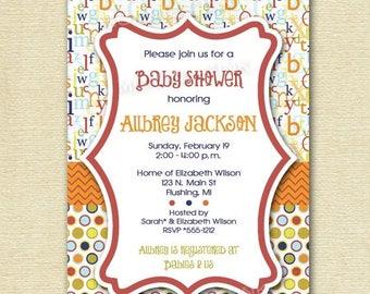 20% OFF SALE Mod ABC Polka Dot Baby Shower Invitation - Alphabet Invitation - Abc Invite - Baby Shower Invite - Printable