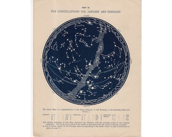 c 1884 - CONSTELLATIONS STAR MAP lithograph - antique astronomy print - zodiac star print - milky way celestial chart - January & February