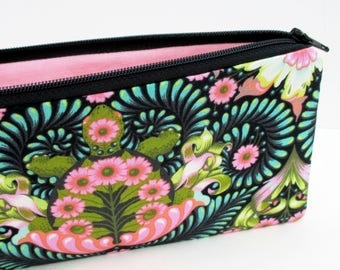 Zippered Pencil Pouch, The Tortoise,Tula Pink, Slow and Steady, Turtle Zipper Bag