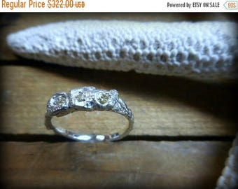 SaLe The Mermaid's Lair Rough Diamond Ring. Yellow .45 CT Trio Sterling Silver Coral Branch Engagement Ring Genuine diamonds ooak