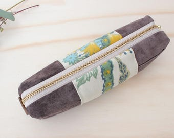 LEA Pencil case repurposed suede leather