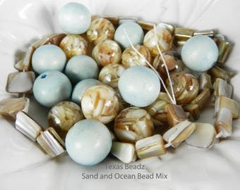 Assortment of Blue and Tan Bead Mix Assorted Multi Color Beads Ocean and Sand Multicolor Mixed Color Mother of Pearl