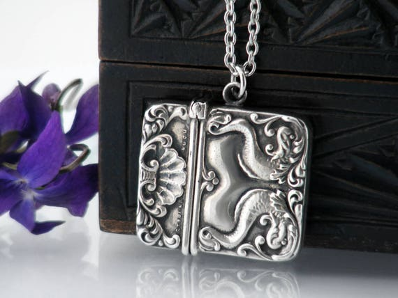 Antique Stamp Case | Sterling Silver Locket | Victorian Era Chatelaine Hinged Sterling Stamp Case | Mythological Fish Design - 34 Inch Chain