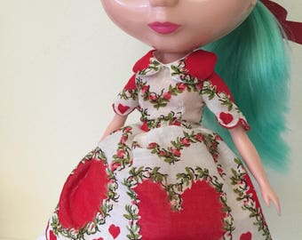 Red Heart and Floral Vintage Hankie Dress For Blythe