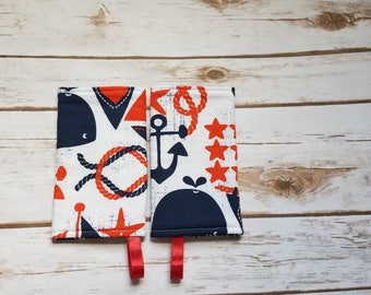 Ahoy Matey suck pads/drool pads/Whales/Nautical/Ocean/blue/red/babycarrier/accessories/SSC