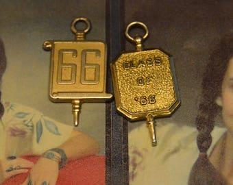 2 Class of 1966 Bracelet Charms ,Necklace Pendants, Collage, High School, Vintage Gold Tone Graduate Graduation