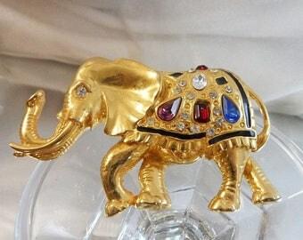 SALE Vintage Rhinestone Elephant Brooch. Large Black Enamel Bejeweled Elephant Pin.  Lucky Trunk Up. Political. Republican.