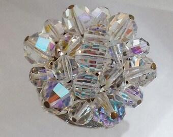 SALE Vintage Austrian Crystal 1950s Brooch.  Austrian Crystals Pin. Aurora Borealis.