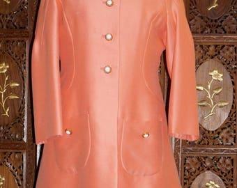 ON SALE 1960s Mod Apricot Sheath Dress & Coat Ensemble Sz 12