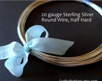 8% off SHOP-WIDE, 20 gauge Sterling Silver Wire - Round, Half HARD, solid .925 sterling, wire wrapping - Select a Length