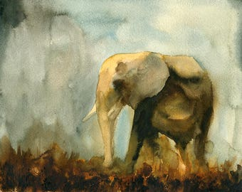 Elephant Original watercolor painting 10x8inch