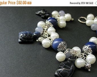 BACK to SCHOOL SALE Turtle Bracelet. Tortoise Charm Bracelet with Navy Blue Turtles, Gemstones and Pearls. Handmade Bracelet.