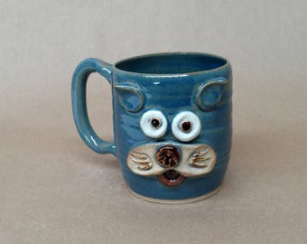 Fun Office Coffee Mug. Cute Kitty Face Hot Tea Mug in Speckled Blue. Handcrafted Stoneware Pottery Mugs by Nelson Studio. Made in the USA