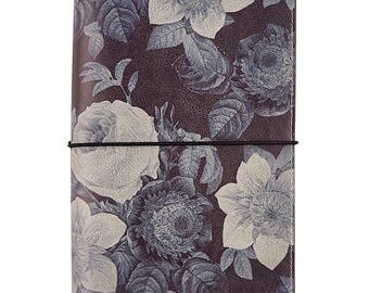 Black Vintage Floral Traveler's Notebook Journal Carpe Diem (IN STOCK) Free Washi Tape with this order (7944)