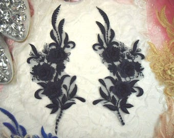 "3D Embroidered Bridal Appliques Navy Floral Venice Lace Mirror Pair 8"" Sewing Supplies DIY (DH92X-nv)"