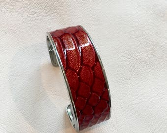 Large Silver and red embossed cuff leather cuff bracelet bracelet leather cuff silver cuff adjustable bracelet
