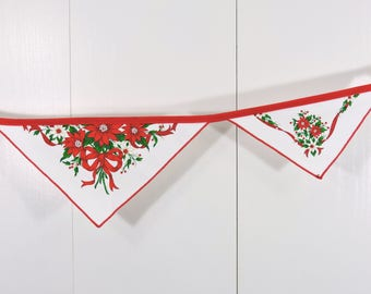 Poinsettia Bunting Flags / Christmas Bunting Flags / XMas Pennant Flags