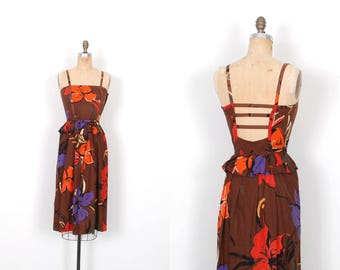 Vintage 1980s Dress / 80s Floral Printed Backless Sundress / Brown and Orange ( XS S )