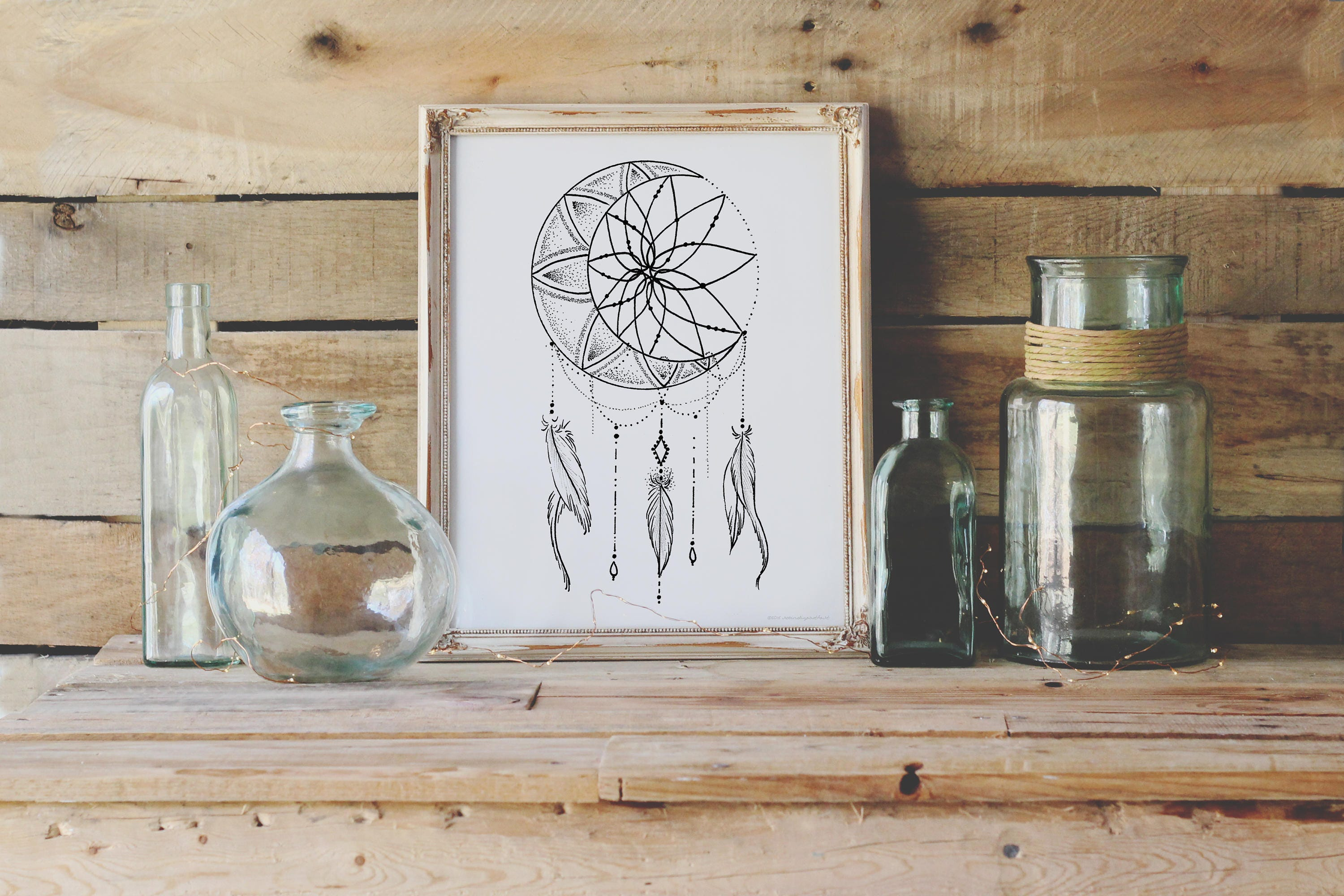 moon dream catcher coloring page instant download print your