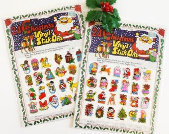 Vintage 1980s 90s Christmas Vinyl Puffy Stickers Your Choice NOS, Package Letter Decoration Collecitble
