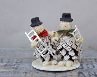Vintage Chimney Sweep Pine ConeGnome Christmas Decoration . W. Germany . Spun Cotton Face . Ladders . Christmas Ornament . 1950's