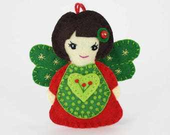 Felt angel ornament, angel Christmas ornament, handmade angel decoration, textile angel ornament, Christmas tree ornament, hanging angel..