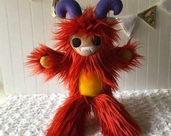 Wildfire Monster Buddy, Orange Monster Toy Monster, Plush Monster, Yeti