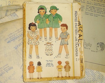 Original Vintage 1934 McCall THE TWINS Stuffed Doll Pattern 250 • 25 inches tall