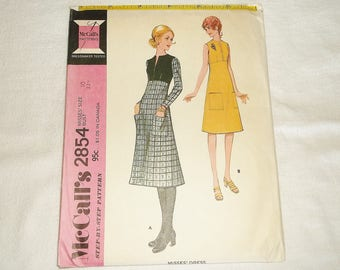 Uncut vintage 1971 McCALL'S Dress Pattern 2854 • size 10 • Factory Folded