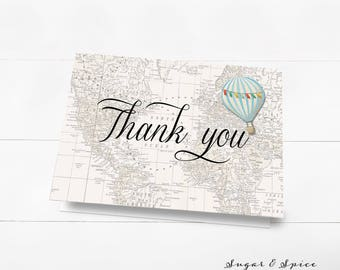 Thank you cards baby shower, Hot Air Balloon Thank You Card, Baby Shower Thank You Card, Printable Thank You Card