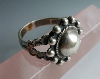 Domed Fred Harvey Style Sterling Silver Ring