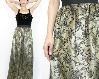 25% off Summer SALE 40 Percent OFF SALE 80s Metallic Gold Brocade Maxi Skirt Rose Floral Long Party Skirt Black and Gold Bow Print High Wais